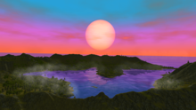 Sunrise over island