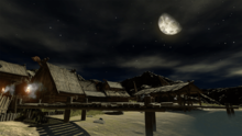 Viking village nighttime