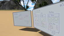2 Whiteboards on the beach