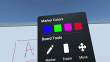 Tools selection and pen color menu