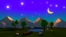 Cartoon night sky